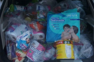 A car load of supplies for distribution in Zihuatanejo.
