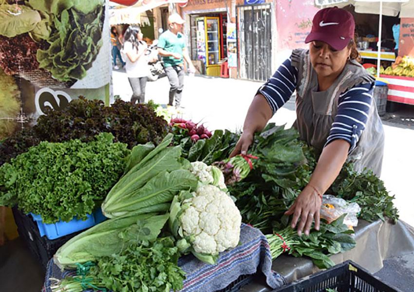 Chinampera Carmen Cruz sells her produce at the market in San Gregorio.