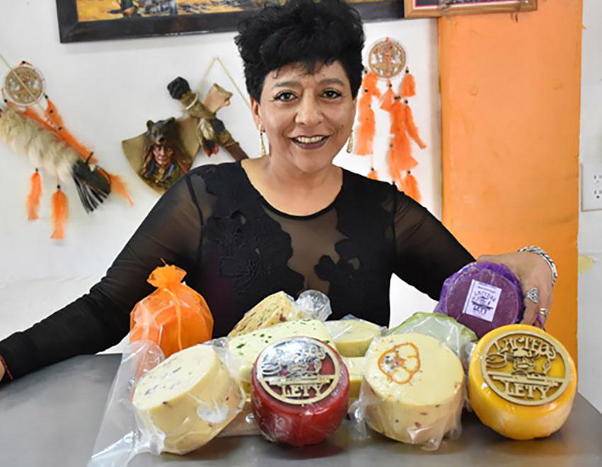 Leticia Herrera at her cheese store in San Cristóbal Poxtla.