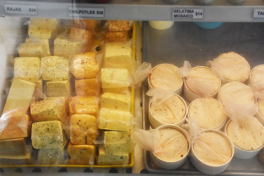 A selection of Mexican-made manchego cheeses.