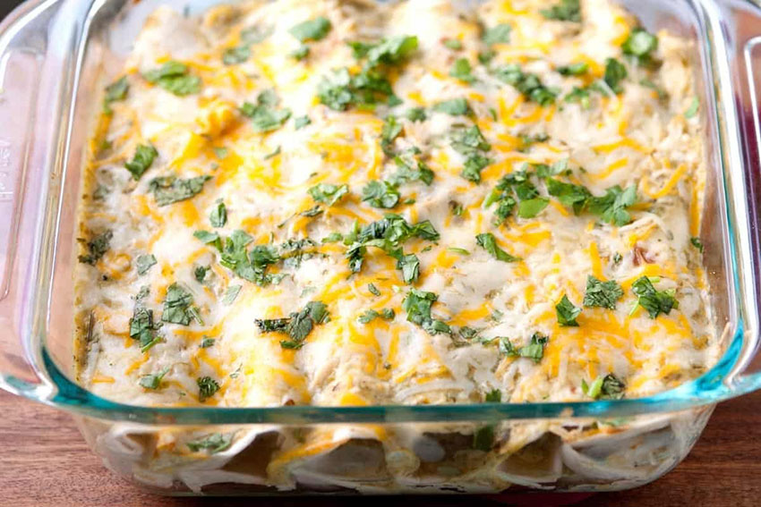 Classic enchiladas made with chicken and salsa verde.