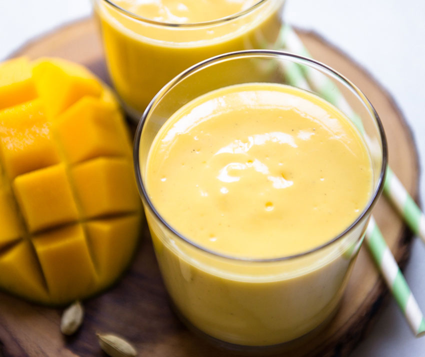 Blend honey with mangoes, yogurt and milk to make this refreshing drink.