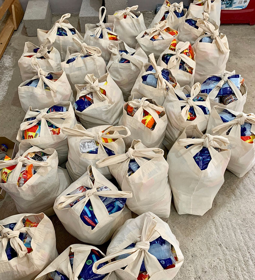Bags of supplies ready to go to families in Pescadero.