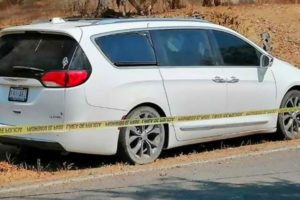 The vehicle in which officers' bodies were found on Monday.