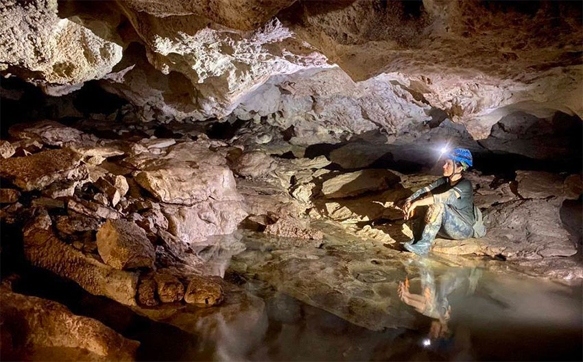 Inside the cave that was revealed by a sinkhole.