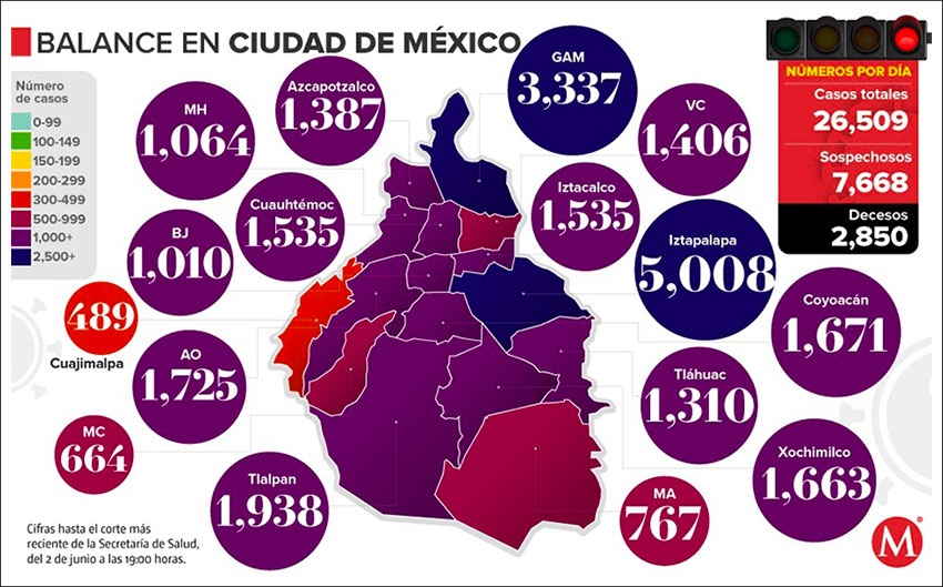 Confirmed coronavirus cases in Mexico City as of Tuesday evening.