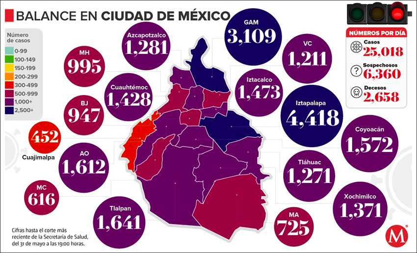 Coronavirus cases by borough in Mexico City as of Sunday