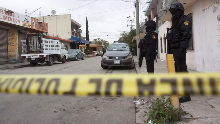 A crime scene in Mexico City, for which any one (or more) of 40 criminal gangs might have been responsible.