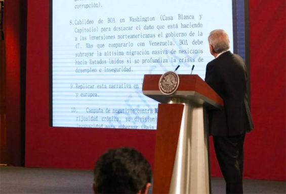 AMLO presents the anonymously-submitted document to reporters on