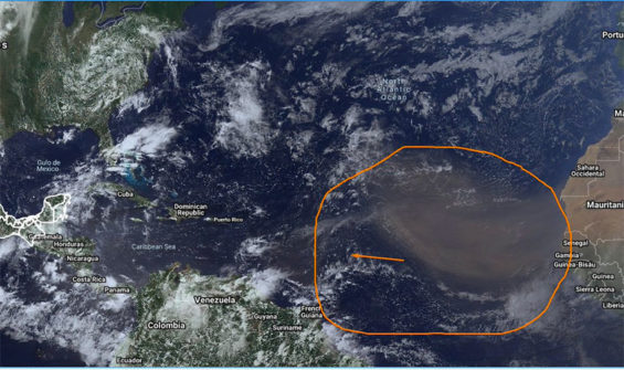 The dust cloud currently making its way across the Atlantic.