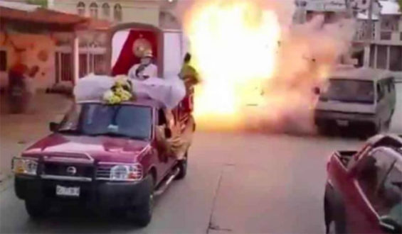 The explosion of a trike during a religious parade in Macuspana, Tabasco.