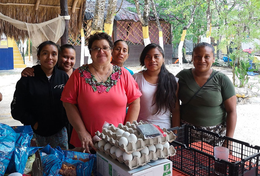 These women have been cooking hot meals for more than 70 days for more than 220 people in Playa del Carmen at a a soup kitchen supported by the Seaside Rotary Club.
