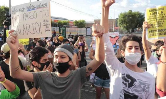Protesters in Guadalajara on Friday.