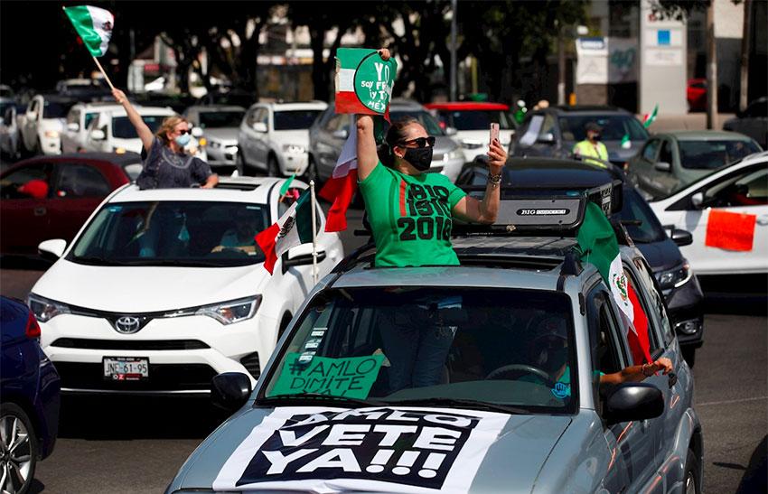 Protesters on Saturday in Guadalajara.