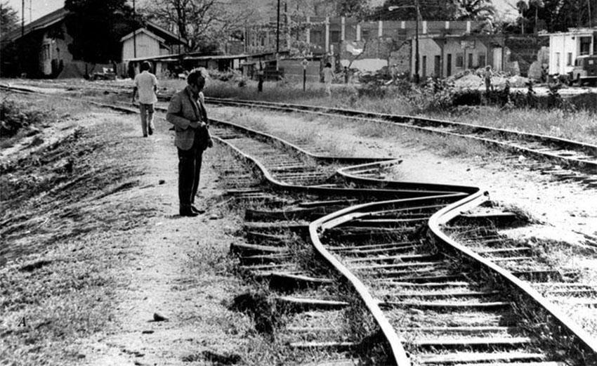 Twisted tracks after Guatemala's 1976 earthquake.