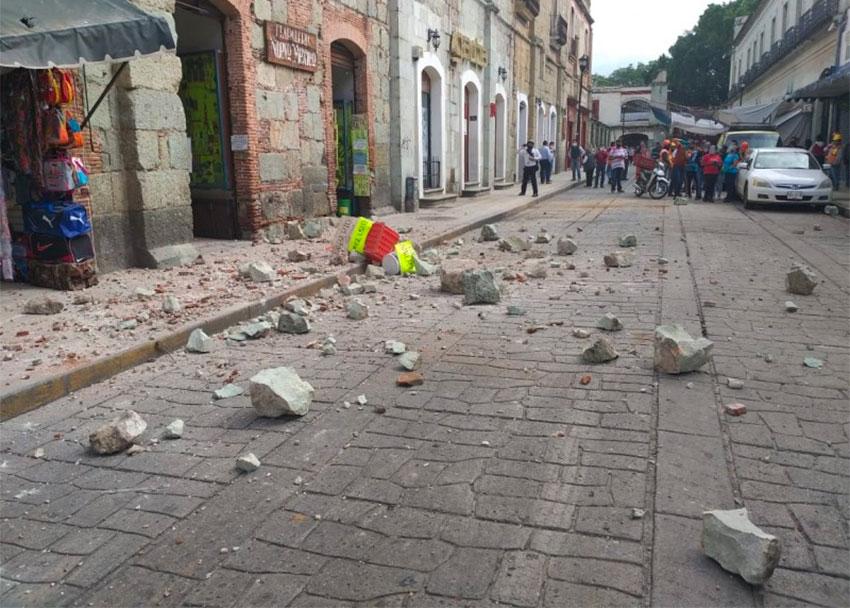 Earthquake rubble on a street in Oaxaca.