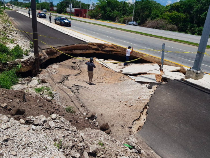 The sinkhole that appeared Saturday.