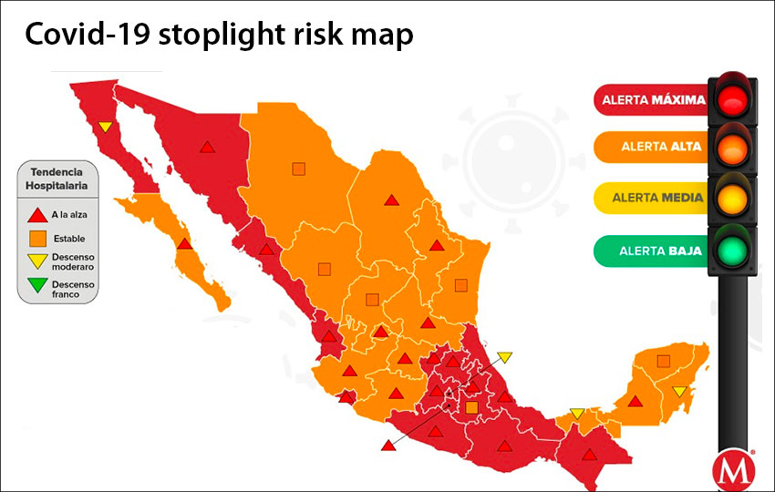 Next week's stoplight risk map shows half the country has a reduced coronavirus risk level.