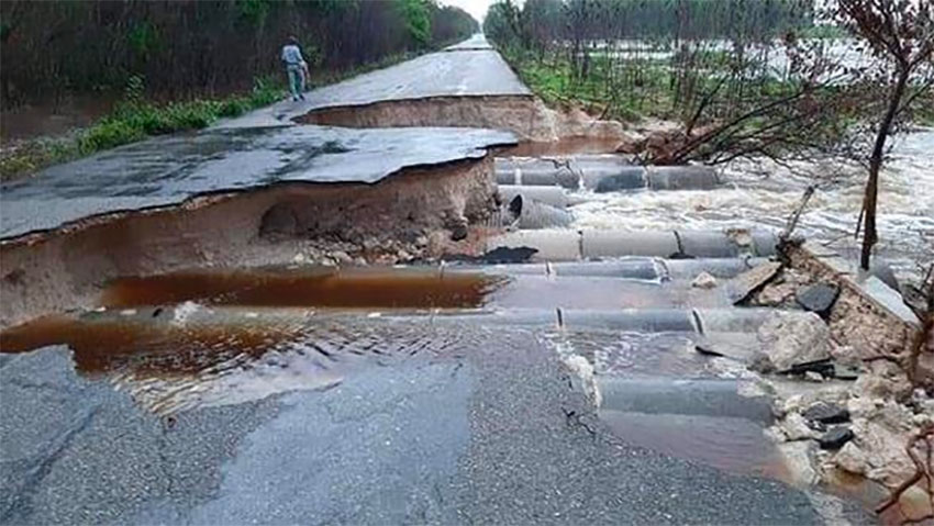A highway is left impassable by Tropical Storm Cristóbal.