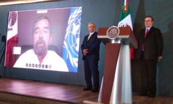 Mexico's ambassador to the UN, Juan Ramón de la Fuente, speaks via video link at the president's press conference on Thursday.