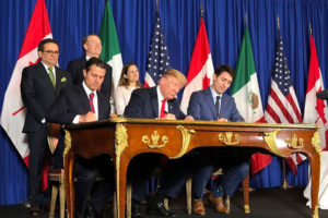 Former president Peña Nieto, Trump and Canada's Justin Trudeau signed the new agreement in 2018.