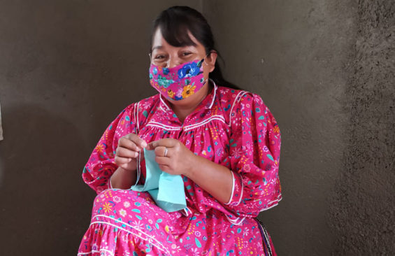 Soledad, a Rarámuri artisan, has a new job sewing coronavirus face masks.