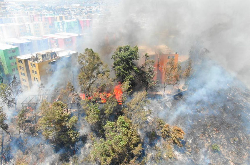 One of many fires burning in Tijuana on Tuesday.