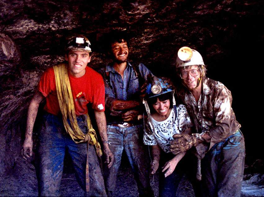 Members of the Zotz Caving Club enjoy the mud inside the Sticky Room.