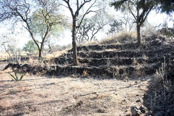 A small pyramid at the ruins near San Gregorio Atlapulco, Mexico City.