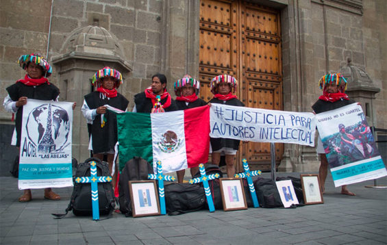 A protest by Tzotzil Maya at the National Palace in Mexico City.