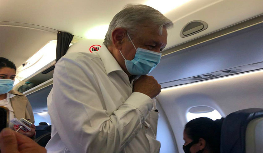The president has only been seen wearing a face mask when flying.