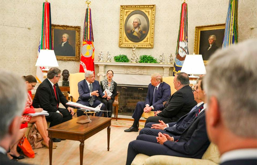 Mexican and US officials joined López Obrador and Trump in the Oval Office.