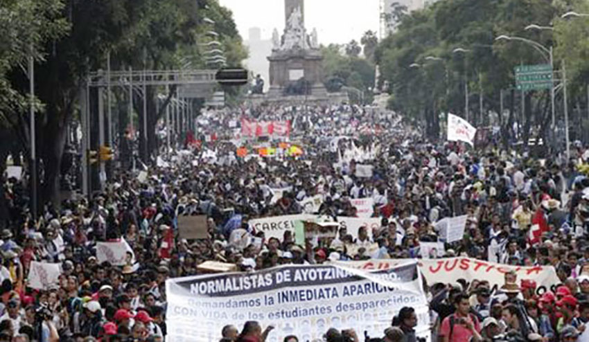 One of the first of many Ayotzinapa protest marches took place in November 2014 in Mexico City.