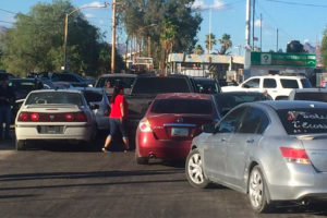 Saturday's border blockade in Sonoyta.