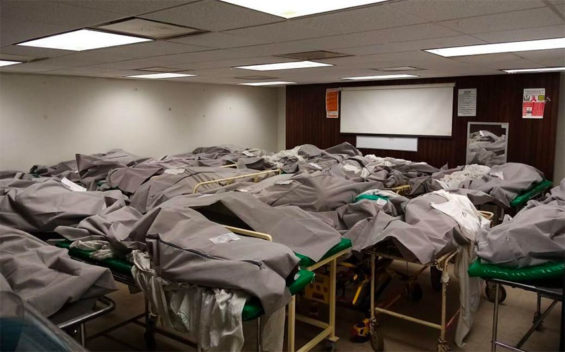 Bodies are stored in an audiovisual room at a Tamaulipas hospital.