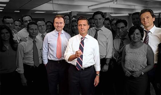 Videgaray, left, Peña Nieto, center, and Lozoya with members of the campaign team in 2012.
