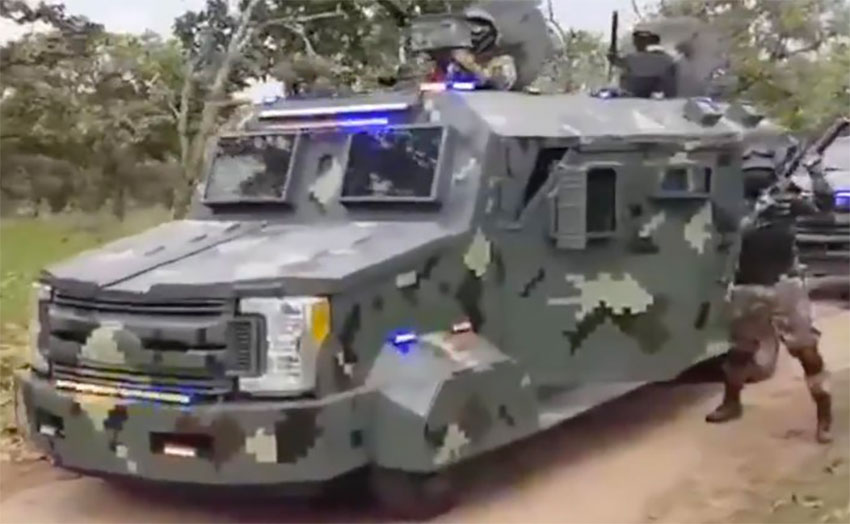 Armored vehicle that appeared in one of the cartel's videos is believed to be a modified Ford F-250 Super Duty XLT.