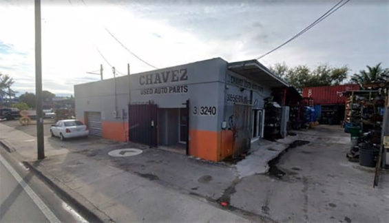 The auto parts business where former governor Duarte was arrested.