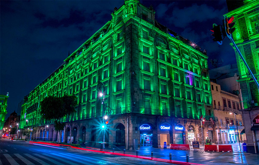 Buildings and monuments are illuminated in green until July 10.