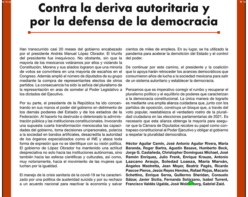 The letter by intellectuals, published as a paid advertisement Wednesday in Reforma.