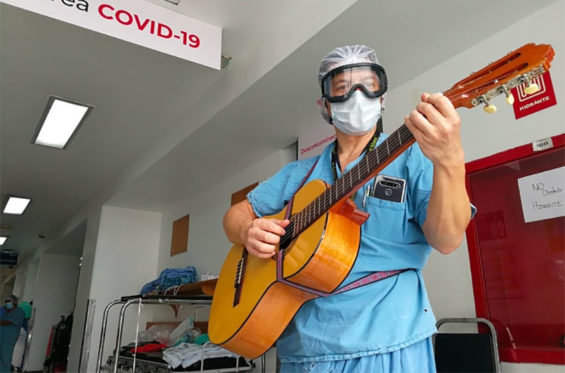 Psychologist Javier Coss offers some music therapy.