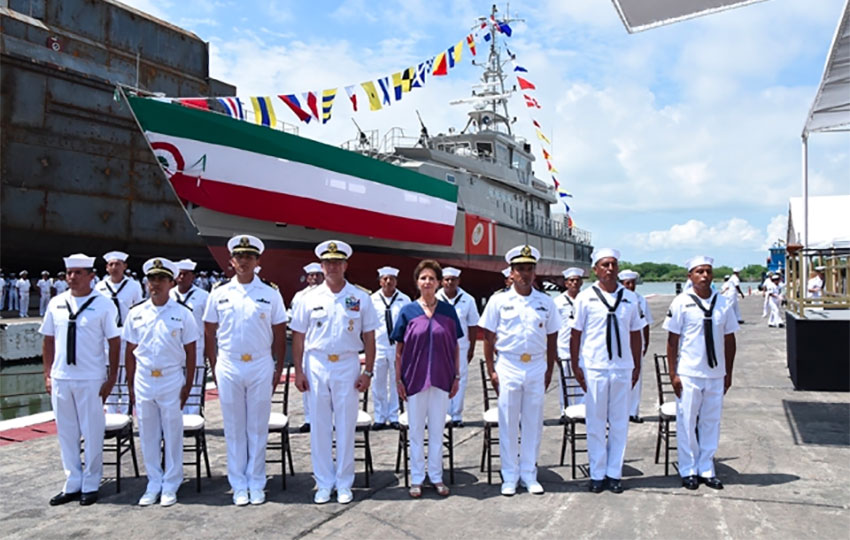 The launch of a Tenochtitlán-class patrol vessel in Tampico.