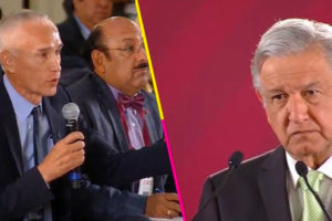 Ramos and López Obrador face off at a morning press conference last year.