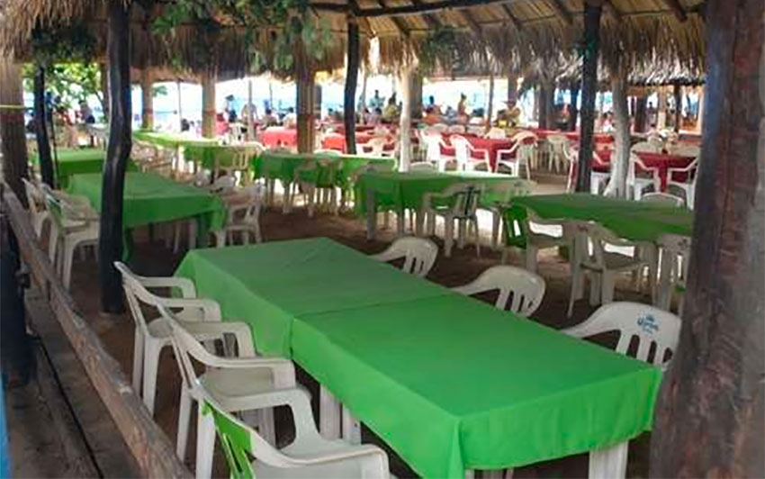 An empty restaurant in Acapulco.