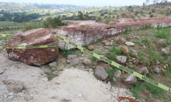 The Texcoco archaeological site that was damaged this week.