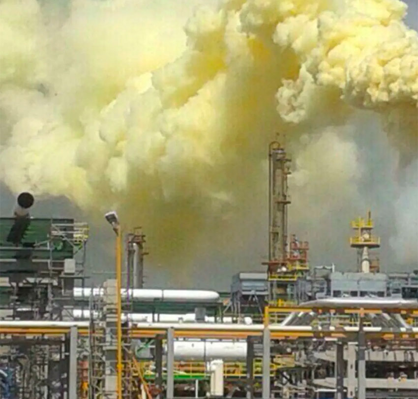 The Salamanca refinery and its yellow emission on Thursday.