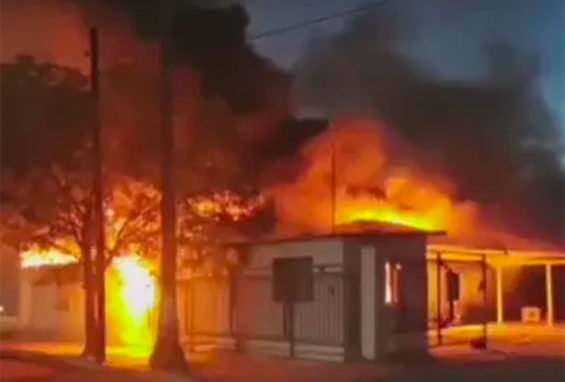 A government building burns in Delicias earlier this week.