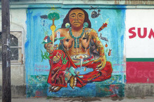'Not Alone,' a 2017 street mural by several gallery members to commemorate that year's earthquake in Chiapas.