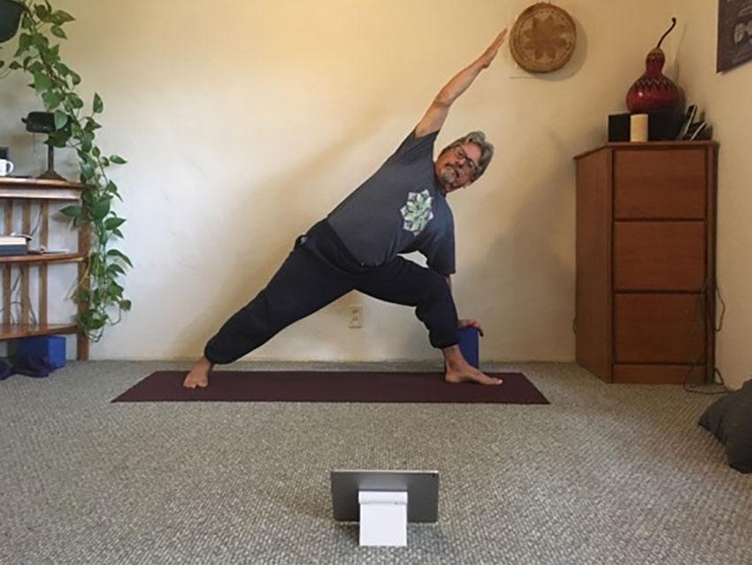 Jim Gallas of Sayulita conducts a yoga class via Zoom.