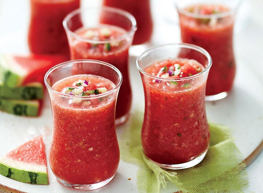 Refreshing shooters of watermelon gazpacho.